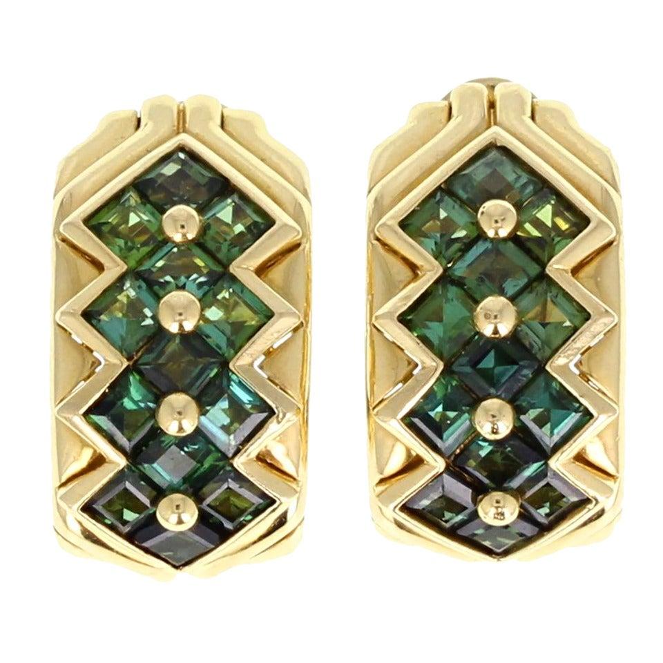 Bulgari Green Tourmaline Gold Hoop Earrings