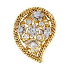 1940s Cartier Diamond Gold Persian Leaf Brooch