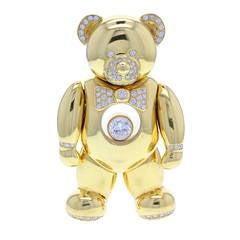 1990s Chopard Happy Diamond Gold Teddy Bear Necklace