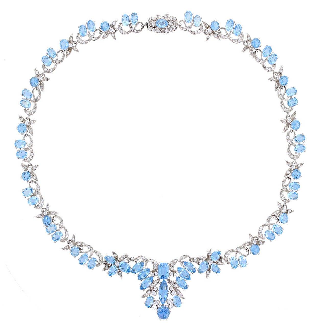 1950s Harrods London Aquamarine Diamond Gold Necklace
