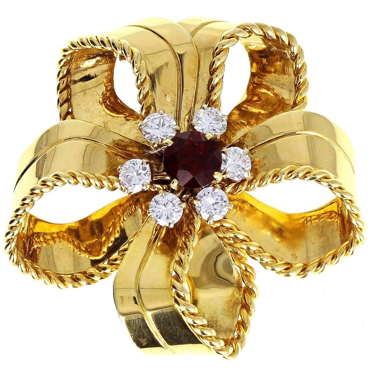 Cartier Orange Topaz Diamond Gold Bow Brooch