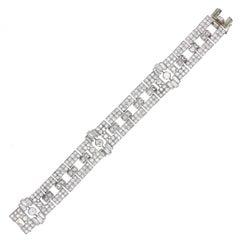 Art Deco Diamond Platinum Panel Bracelet