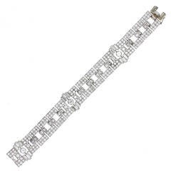 Art Deco Diamond Platinum Panel Bracelet