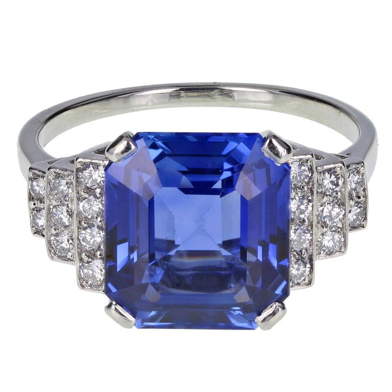 Art Deco Ceylon No Heat Sapphire Diamond Platinum Ring