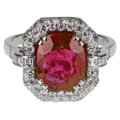 Art Deco 4.62 Carat Burma No Heat Ruby Diamond Platinum Cluster Ring