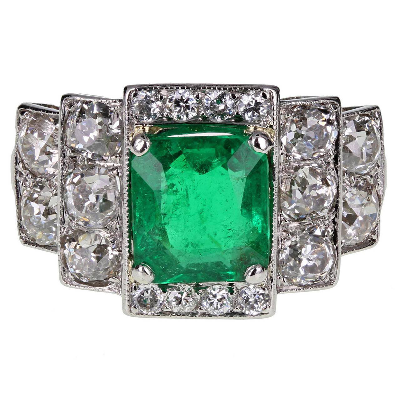 Art Deco Emerald Diamond Platinum Cocktail Ring