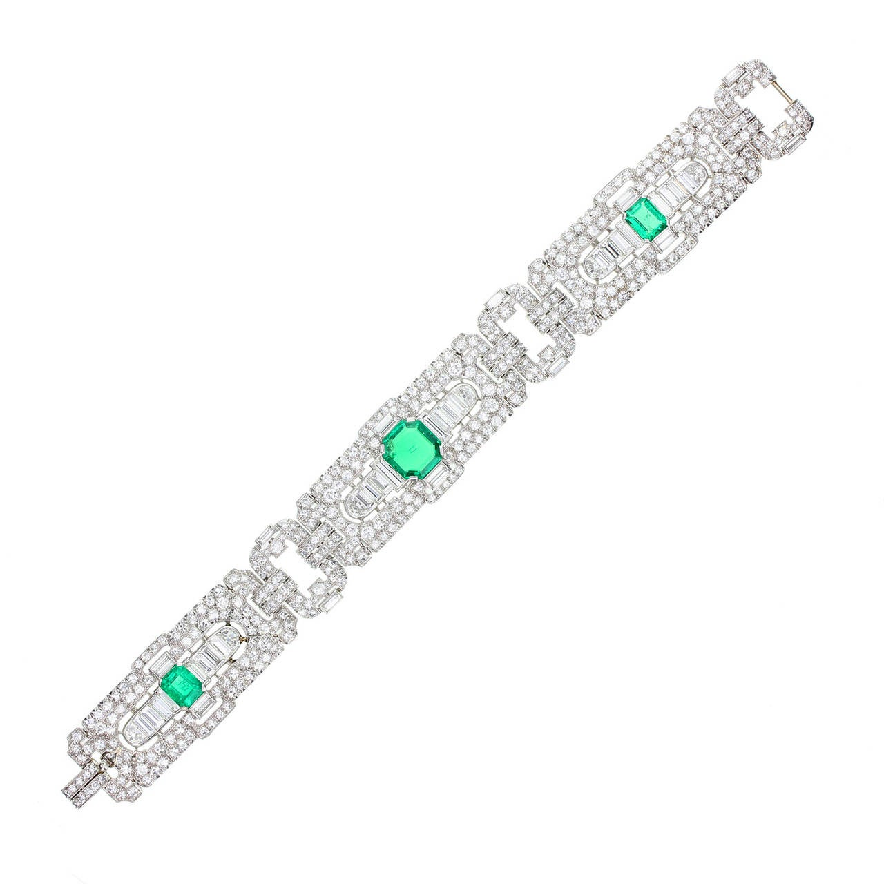 Art Deco Colombian Emerald Diamond Platinum Panel Bracelet For Sale