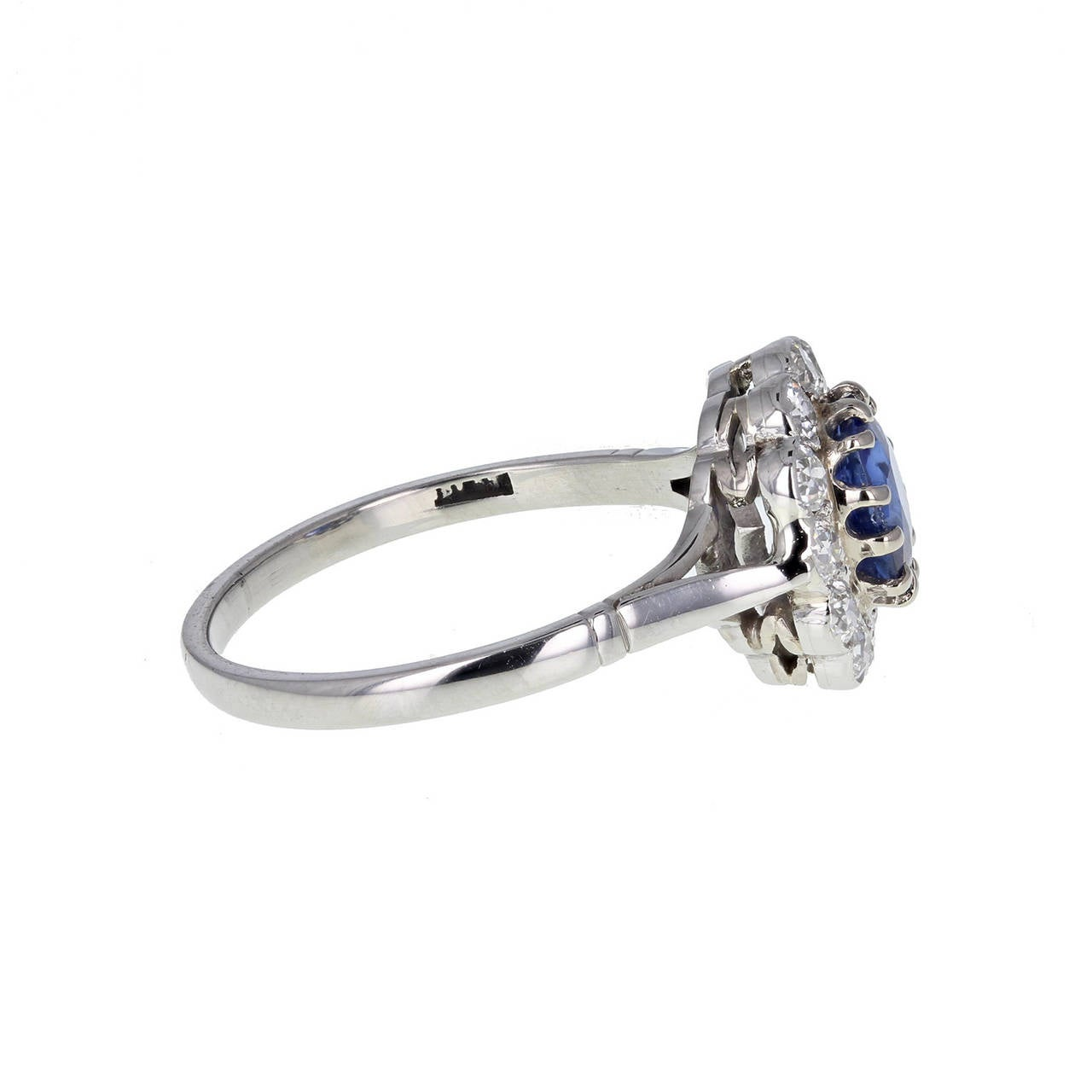 Modern Burma No Heat Sapphire Diamond Antique Cluster Ring For Sale