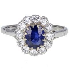 Burma No Heat Sapphire Diamond Antique Cluster Ring