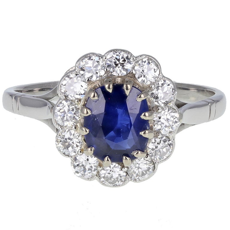 Burma No Heat Sapphire Diamond Antique Cluster Ring For Sale
