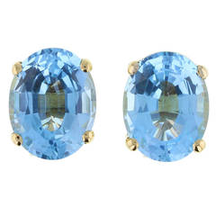 Oval Cut Aquamarine Gold Earrings