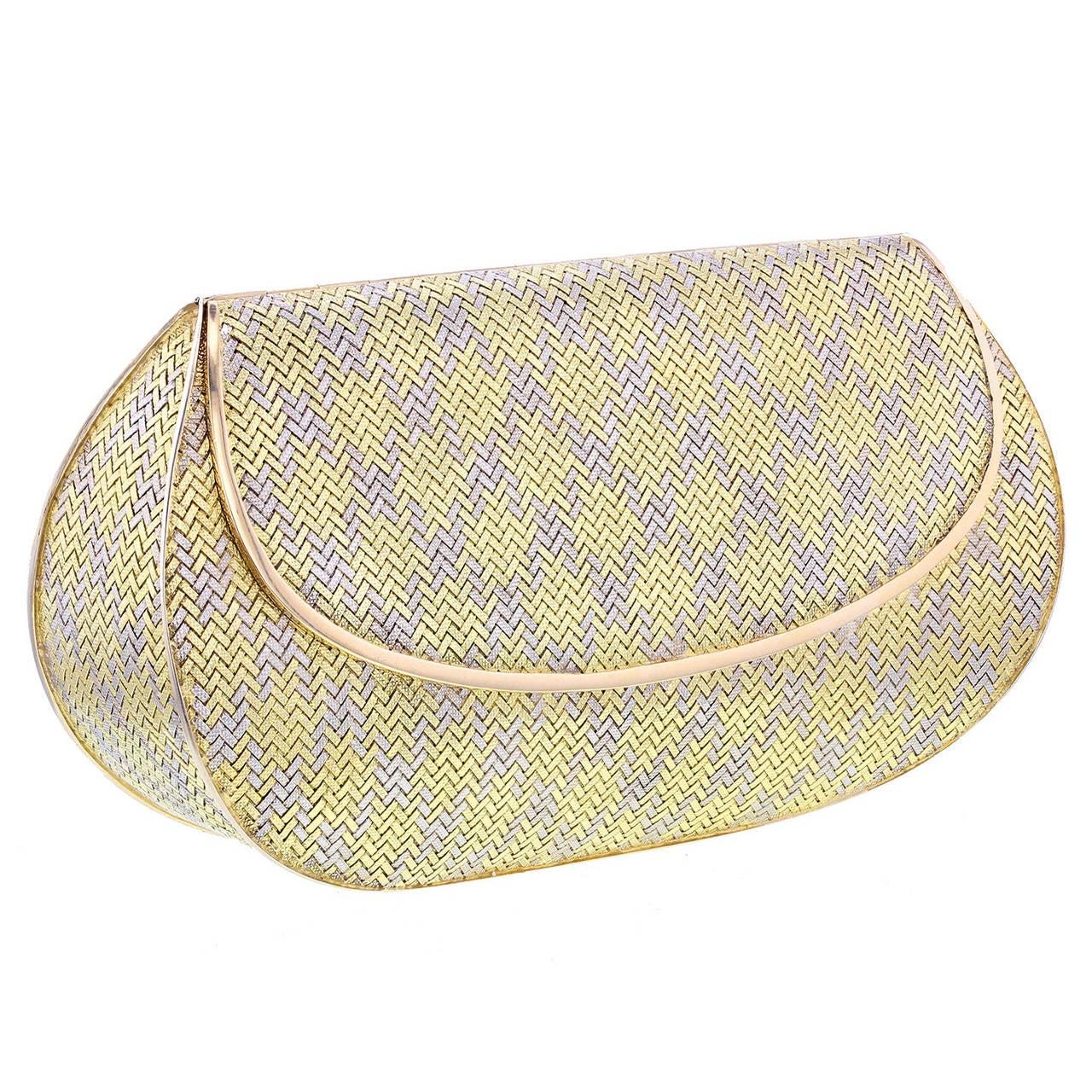 1960s Mancini e Lefevre Two Color Woven Gold Clutch Bag