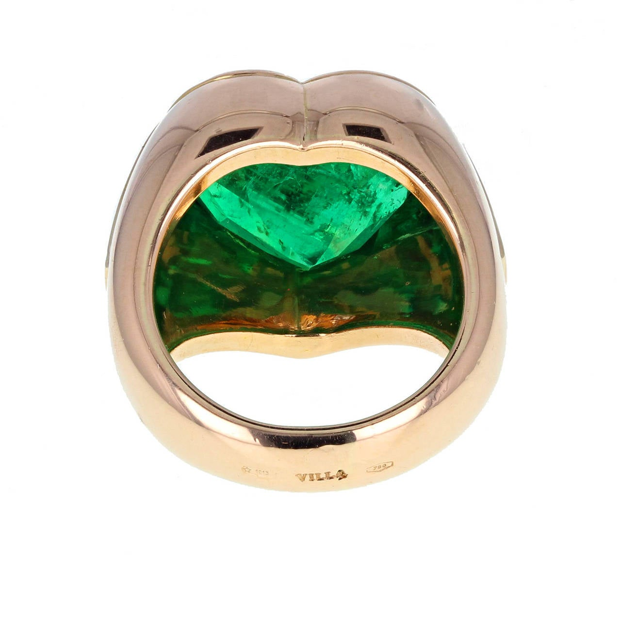 Colombian Minor Oil Heart Shaped Emerald Diamond Ring 3