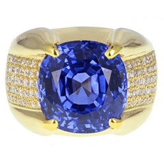 SSEF Certificated 13.18 Carat No Heat Ceylon Sapphire Diamond Cocktail Ring