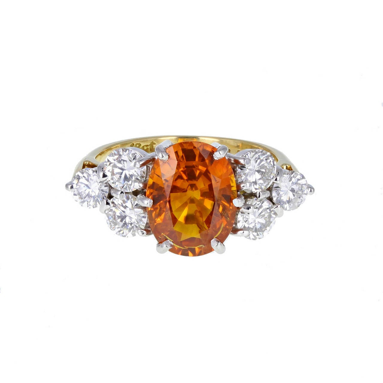 Orange Sapphire Diamond Gold Cluster Ring