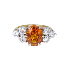 Orange Sapphire Diamond Gold Cluster Engagement Ring