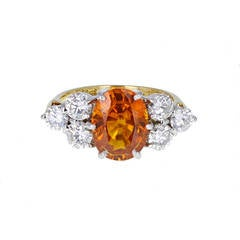 Orange Sapphire Diamond Gold Cluster Ring