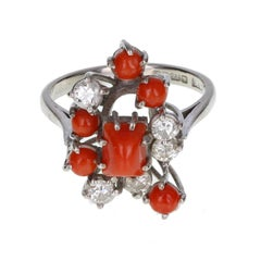 Red Coral Diamond Gold Cluster Ring