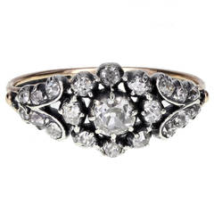 Georgian Diamond Cluster Ring in Silver and Gold