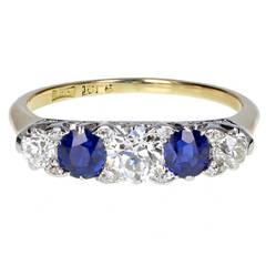 Antique Sapphire Diamond Five Stone Ring