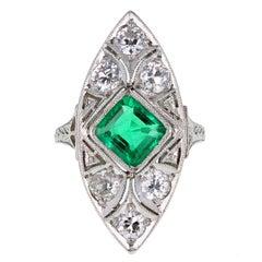 Art Deco Emerald Diamond Platinum  Panel Ring