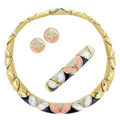 Piaget Mother-of-Pearl Coral Onyx Diamond Parure