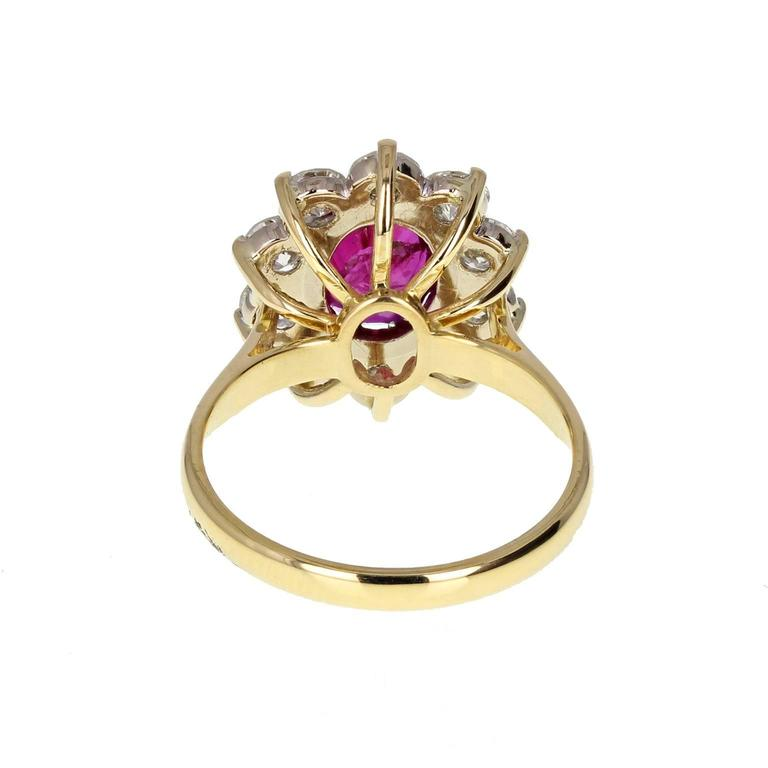 Modern Natural Untreated Thai Ruby Diamond Cluster Gold Ring For Sale
