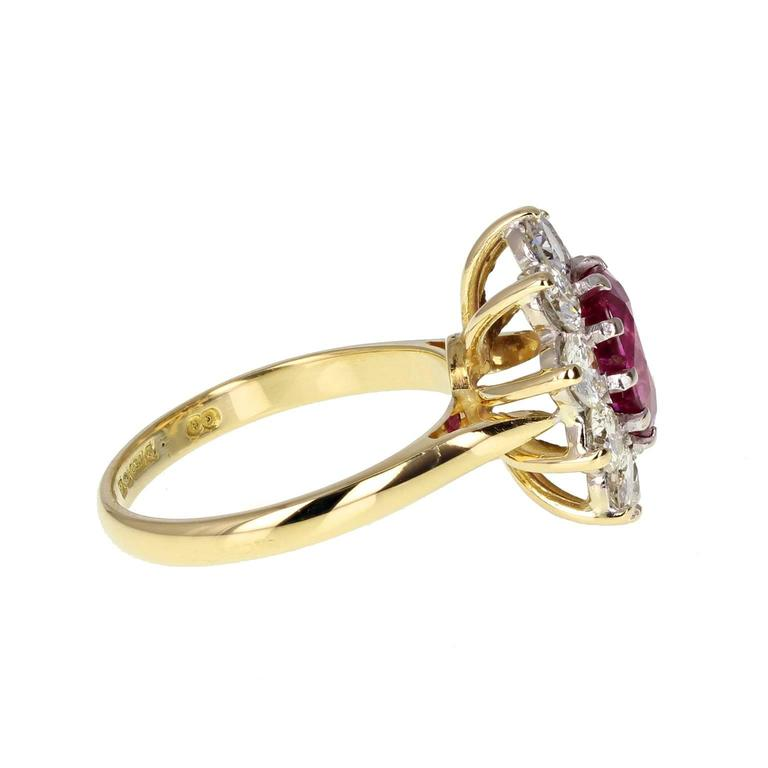 Natural Untreated Thai Ruby Diamond Cluster Gold Ring In Excellent Condition For Sale In Newcastle Upon Tyne, GB