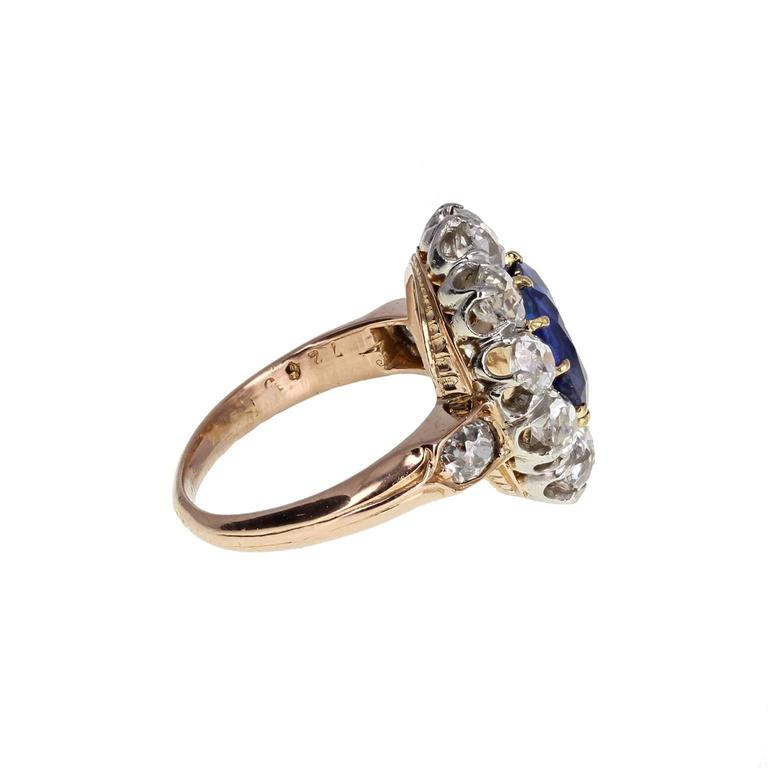 Late Victorian Antique Natural No Heat Ceylon Sapphire Diamond Engagement Cluster Ring For Sale
