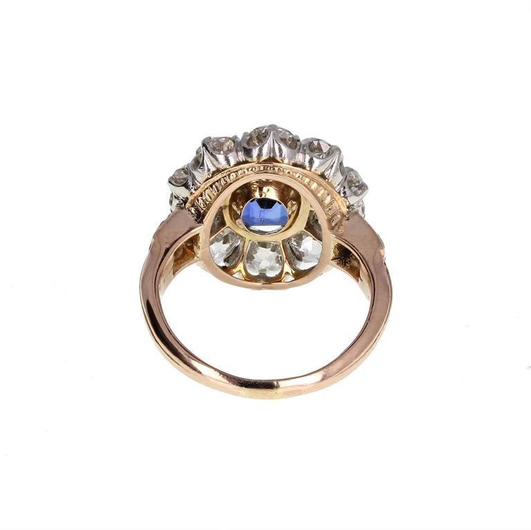 Cushion Cut Antique Natural No Heat Ceylon Sapphire Diamond Engagement Cluster Ring For Sale