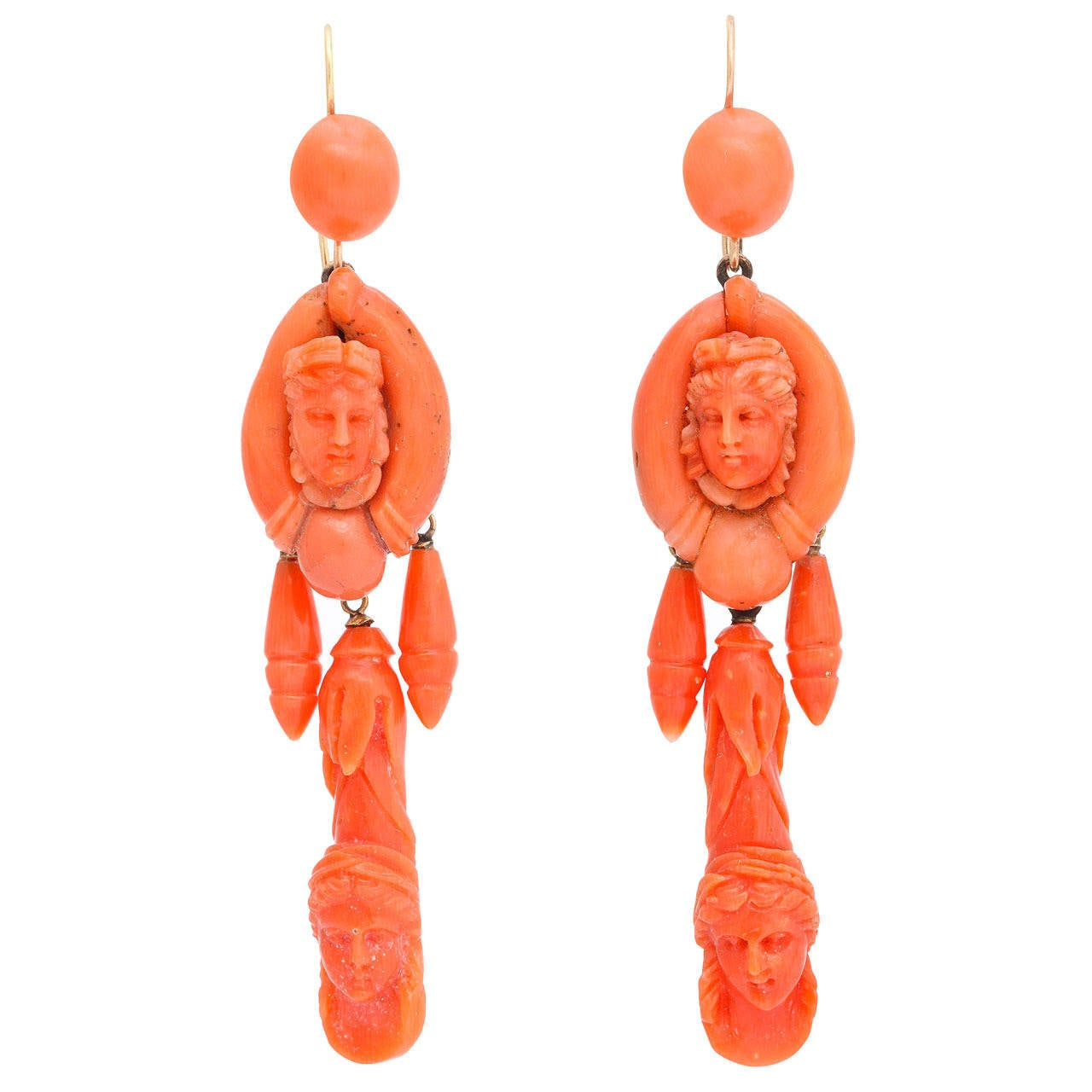 Victorian Carved Classical Neapolitan Coral Earrings 1