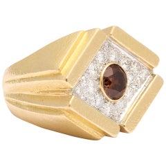 David Webb Natural Brown and White Diamond Gold Ring