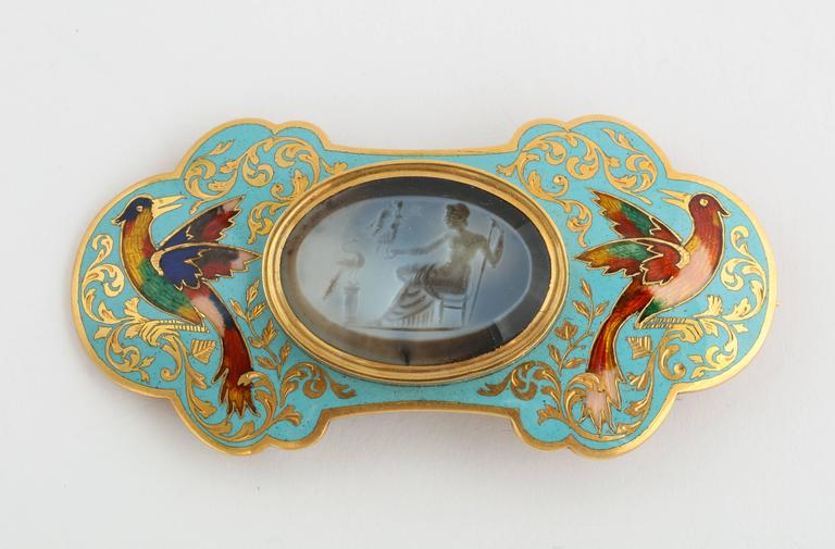 Swiss Enamel and Antique Intaglios Gold Jewelry Suite 4