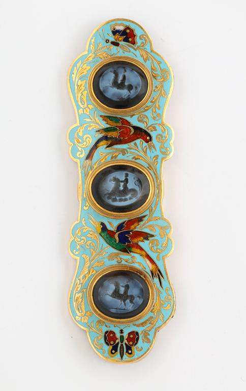 Swiss Enamel and Antique Intaglios Gold Jewelry Suite 5