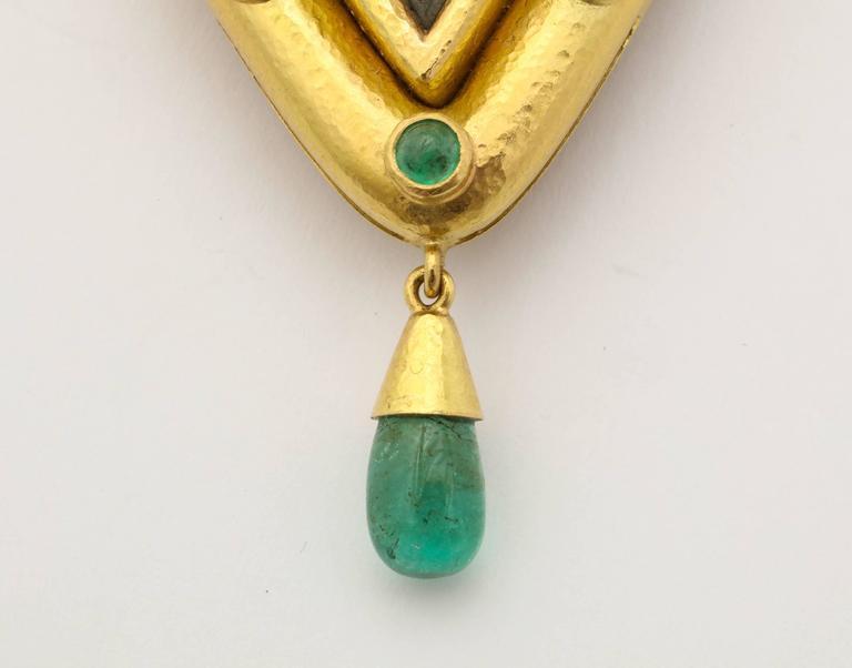 Elizabeth Locke Carved Lava Emerald Gold Pendant Brooch 2