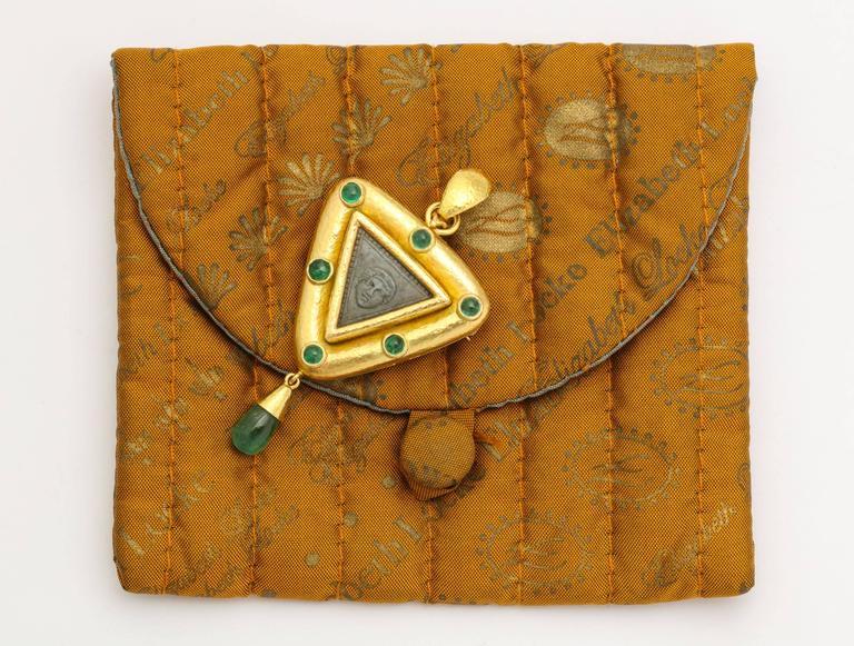 Elizabeth Locke Carved Lava Emerald Gold Pendant Brooch 4