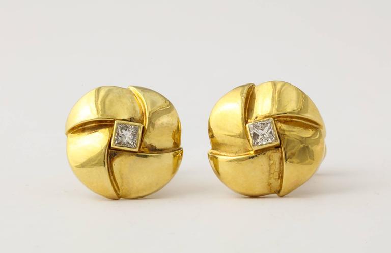 Men's Jose Hess Diamond Gold Cuff Links For Sale