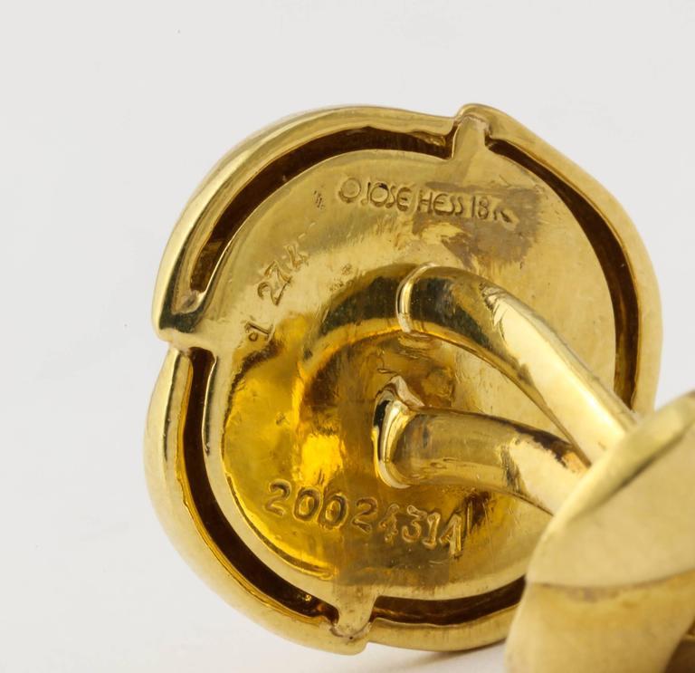 Jose Hess Diamond Gold Cuff Links For Sale 1