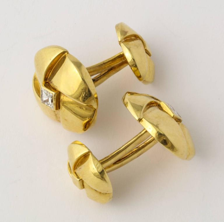 Jose Hess Diamond Gold Cuff Links For Sale 3