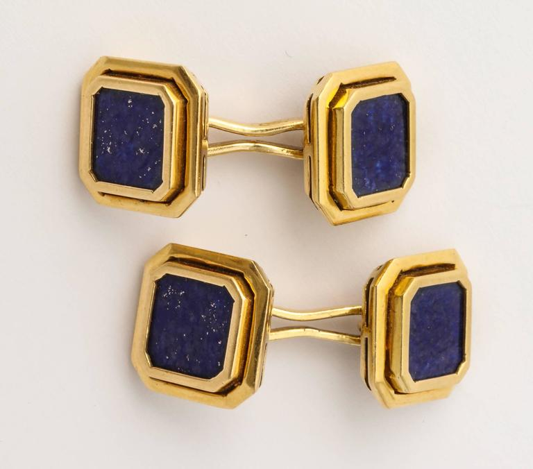 Classic Lapis Lazuli Gold Cufflinks In Excellent Condition In New York, NY