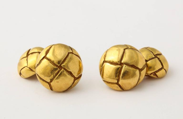1979 Tiffany Gold Leather Button Cuff Links For Sale 2