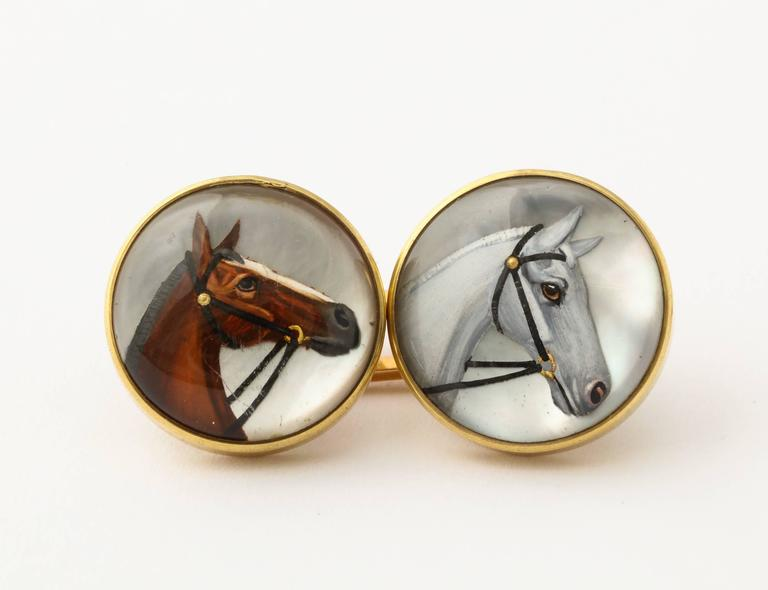 Men's Horse Head Reverse Painted Intaglio Crystal Gold Cufflinks For Sale