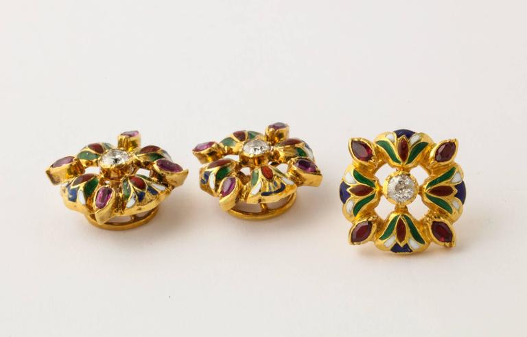 Egyptian Revival Egyptian Lotus Flower Diamond Ruby Enameled Gold Cufflink and Stud Set For Sale