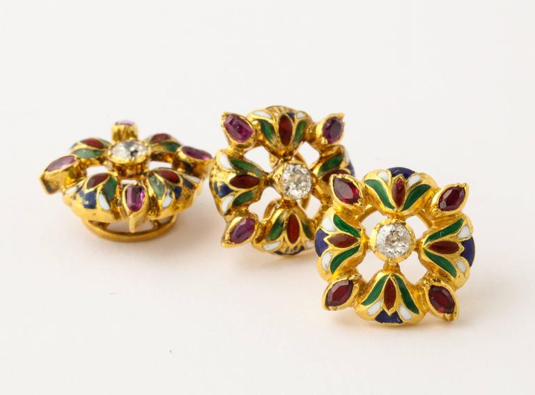 Egyptian Lotus Flower Diamond Ruby Enameled Gold Cufflink and Stud Set In Good Condition For Sale In New York, NY