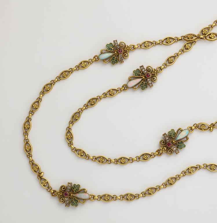 1890s Antique Art Nouveau Long Opal Plique-a-Jour Gold Chain 2