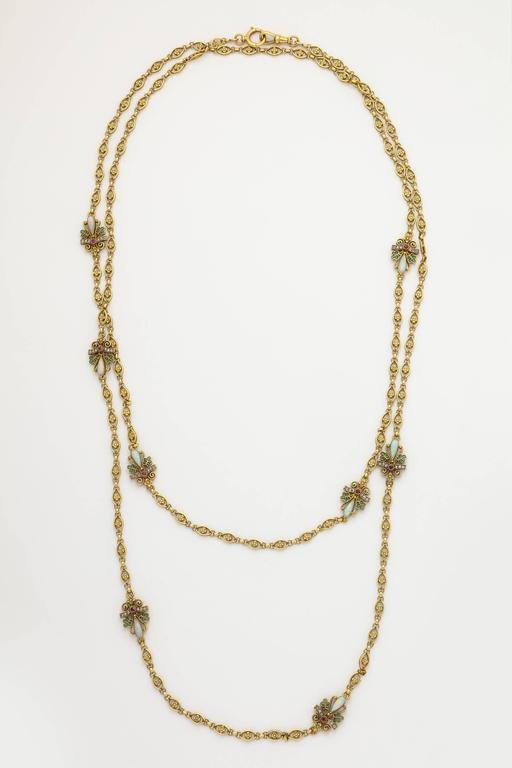 1890s Antique Art Nouveau Long Opal Plique-a-Jour Gold Chain 8