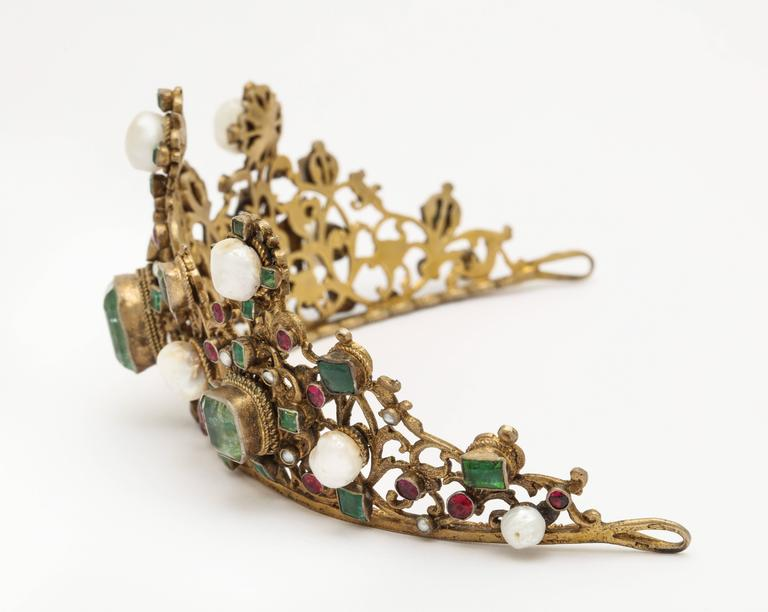 19th Century Austro-Hungarian Emerald Ruby Pearl Tiara In Good Condition For Sale In New York, NY