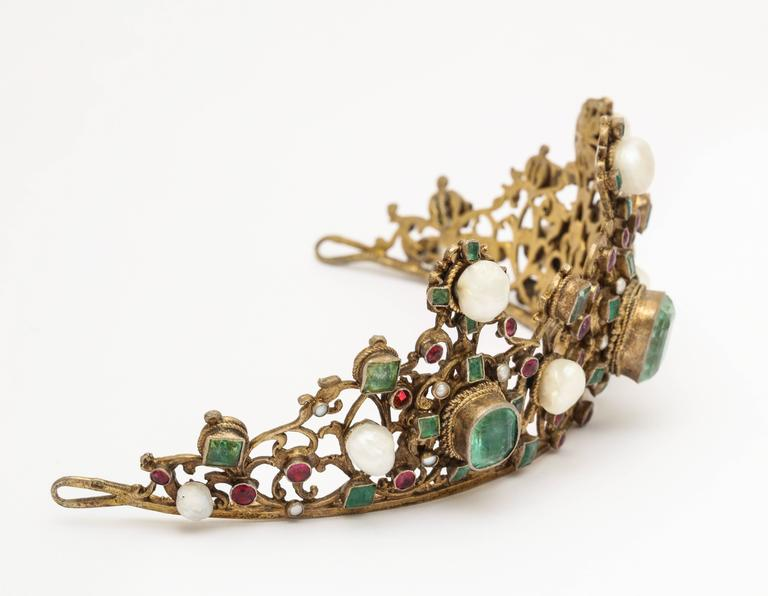 Women's 19th Century Austro-Hungarian Emerald Ruby Pearl Tiara For Sale