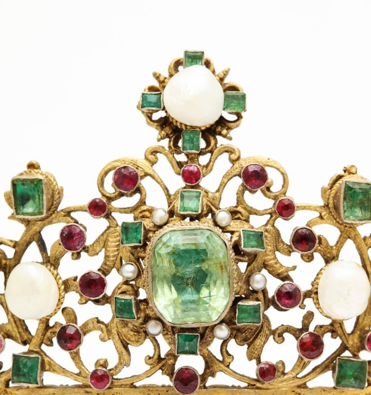 19th Century Austro-Hungarian Emerald Ruby Pearl Tiara For Sale 2