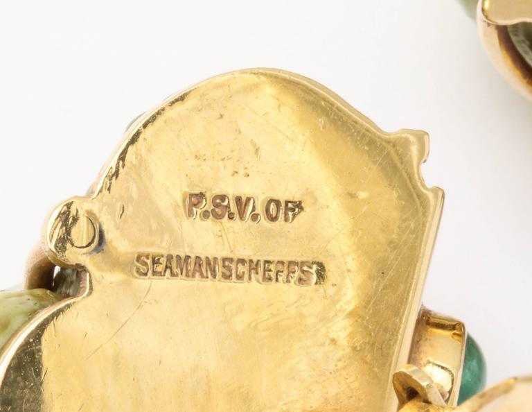 Seaman Schepps Green Sea Shell Emerald Ear Clips 3